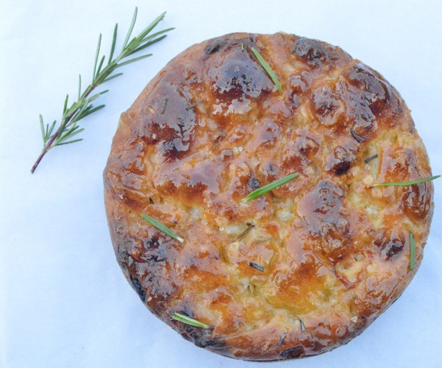 Smaller focaccia, fresh from the oven with the olive oil still glistening!
