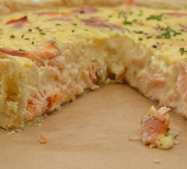 Hot-smoked salmon & horseradish tart: a just-set filling