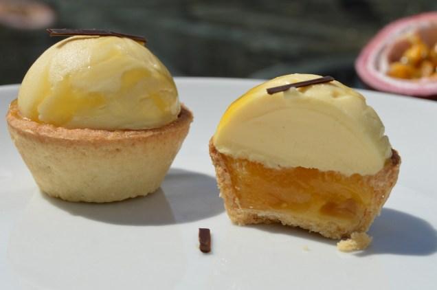 passion fruit & peach tarts