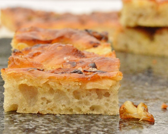 anchovy, onion & garlic focaccia