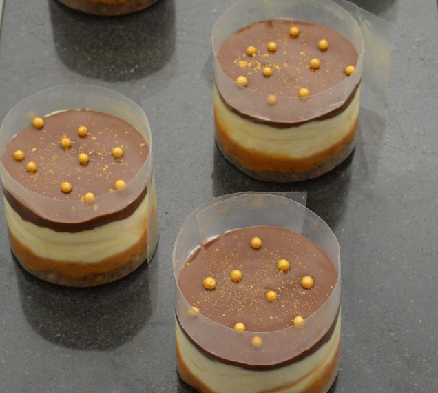After Dark Gü-esque Zillionaires' Puddings: ready for the acetate to be removed