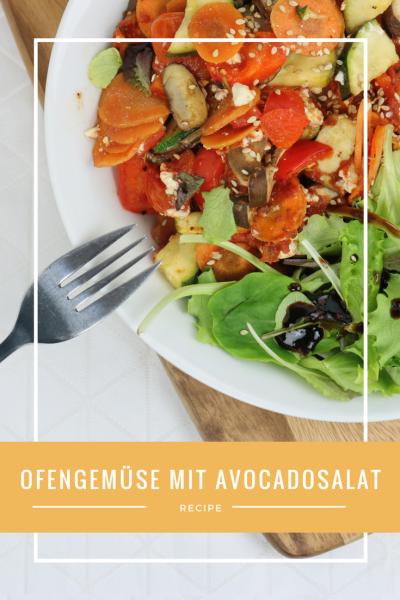 Ofengemüse mit Parmesankruste und Avocadosalat