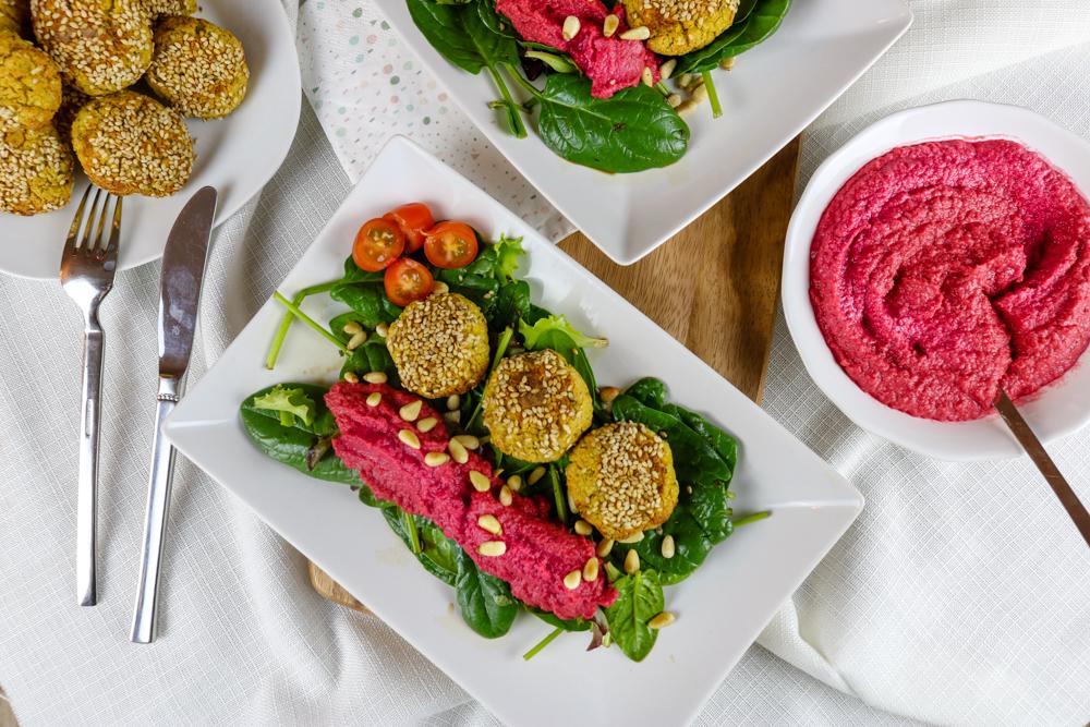 Blumenkohl Falafel mit Rote-Bete Hummus – #Veggiedienstag