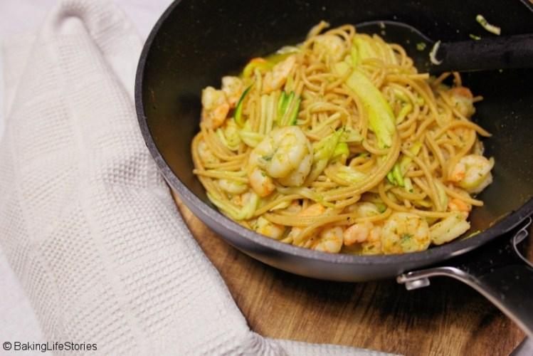 Zucchini-Garnelen-Spaghetti