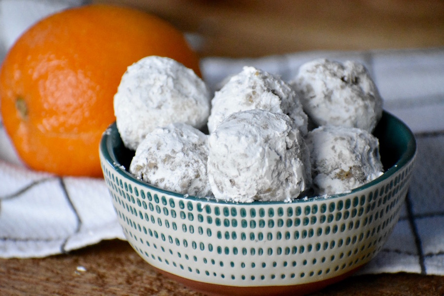 Orange Gingerbread Snowballs