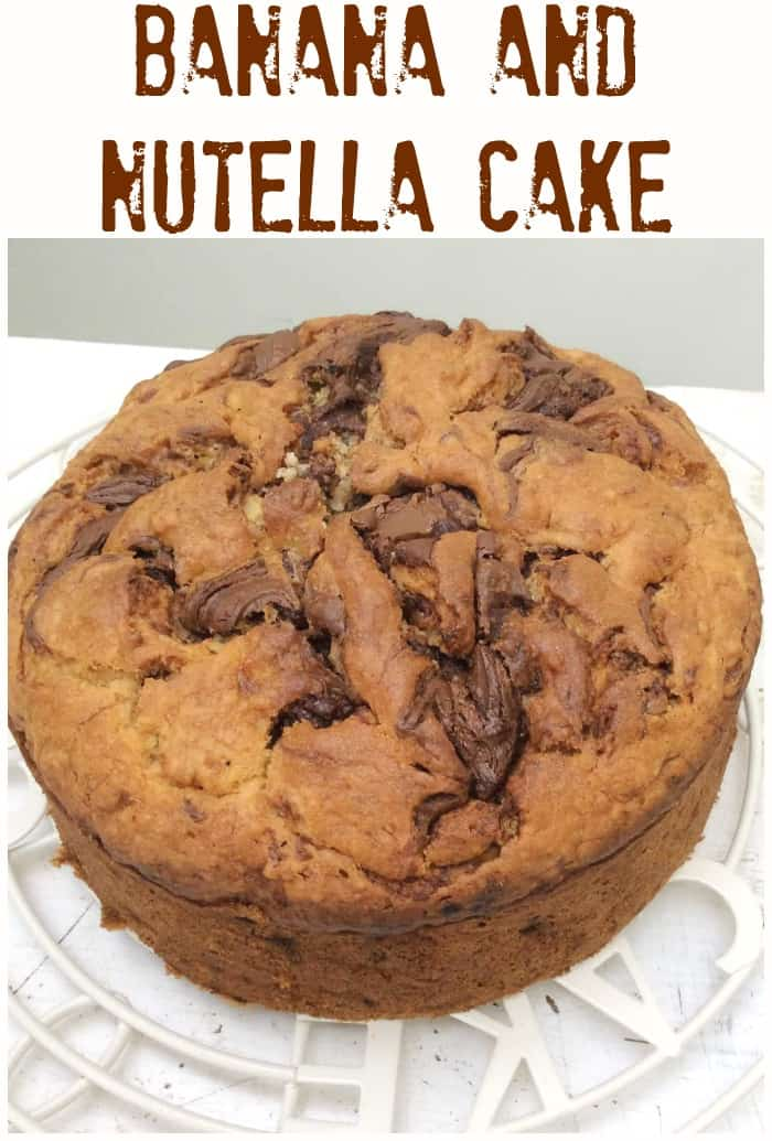 Banana and Nutella Cake - an amazing banana cake with Nutella swirled through the cake batter, delicious served as it is or with Nutella buttercream!