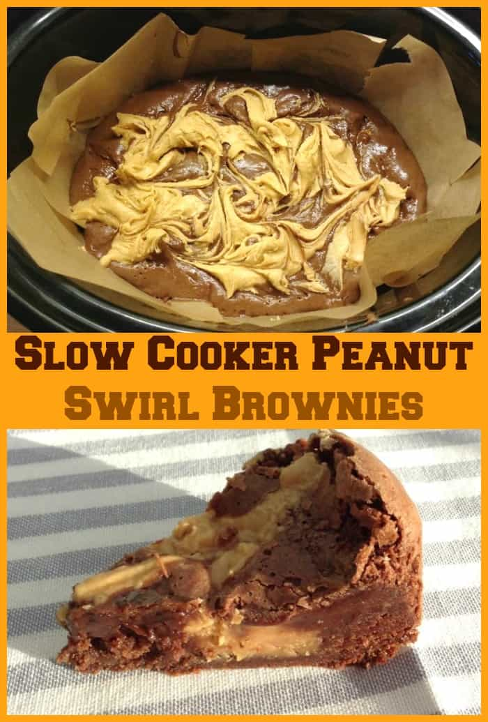 Slow Cooker Peanut Swirl Brownies - amazing fudgy brownies with a sweetened peanut butter swirl filling, bake this delicious treat in your crockpot and enjoy! #slowcookerrecipes #slowcooker #brownies #peanutbutter