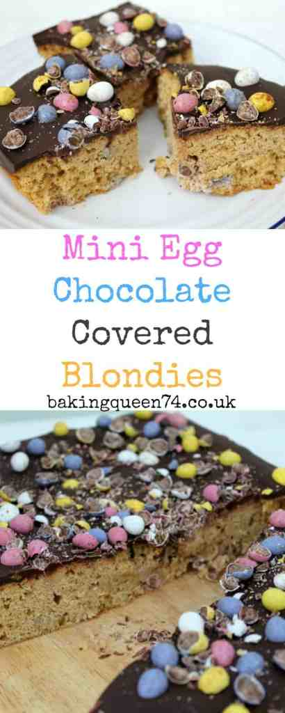 Recipe:  165 g butter 190 g muscovado sugar 2 medium eggs 240 g self-raising flour 1 tsp approx vanilla bean paste A pinch of salt 70 g micro or Mini eggs For the topping:  200 g chocolate (I used one bar of milk chocolate and one bar of dark chocolate) 50 g micro or Mini eggs Method:  Melt the butter in the microwave and allow it to cool. Place the sugar in a large bowl and pour the melted, cooled butter over it, then mix until smooth. Beat the eggs, add the vanilla bean paste, and then add this to the mixture. Stir well. Fold in the flour and salt. Add about 50 g of micro eggs to the mixture and stir gently to combine. Place the mixture in a lined square silicone pan (20 cm). Add the remaining 20 g of micro eggs on top. Bake for 20-25 minutes at 180 degrees until a cake tester comes out clean. Allow the blondies to cool in the silicone pan. Melt the chocolate by microwaving in 30 second bursts and stirring between each burst. It took about a minute and a half in my 1000 watt microwave. Pour the melted chocolate over the blondies, spreading it with a spatula. Put the pan into the fridge to chill. When the chocolate has set partially, you can press some of the micro eggs into the chocolate. When fully set, chop the remaining micro eggs and sprinkle them over the top. Cut with a sharp knife and enjoy a small piece as a treat.