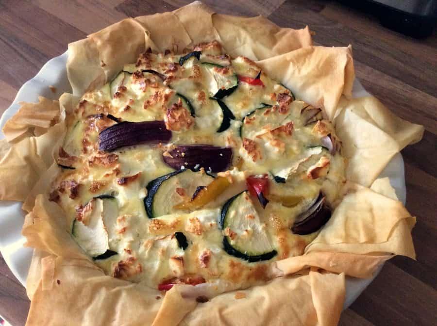 Feta, Pepper and Courgette Filo Pie