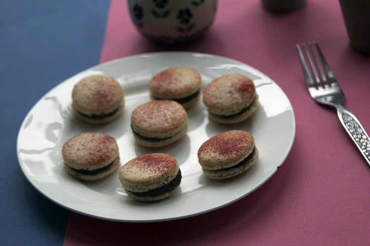 Chocolate and beetroot macarons from Sneaky Veg