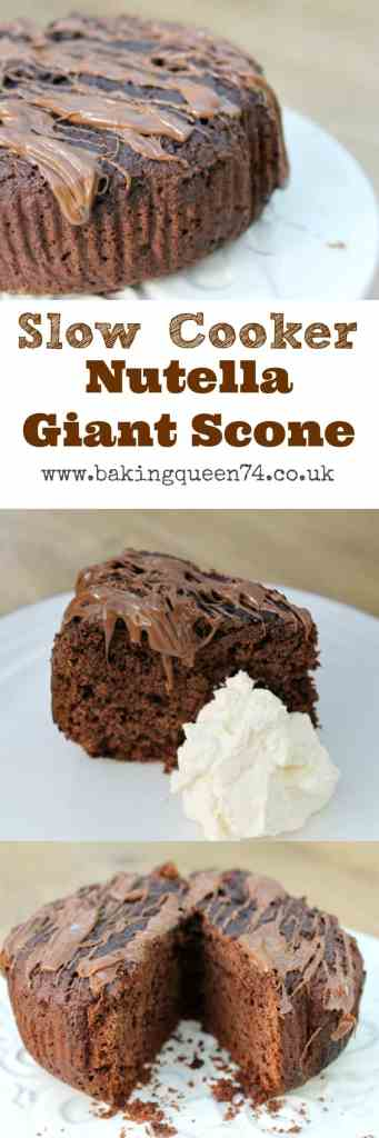 Slow cooker Nutella giant scone - bake a comforting treat in your crockpot!