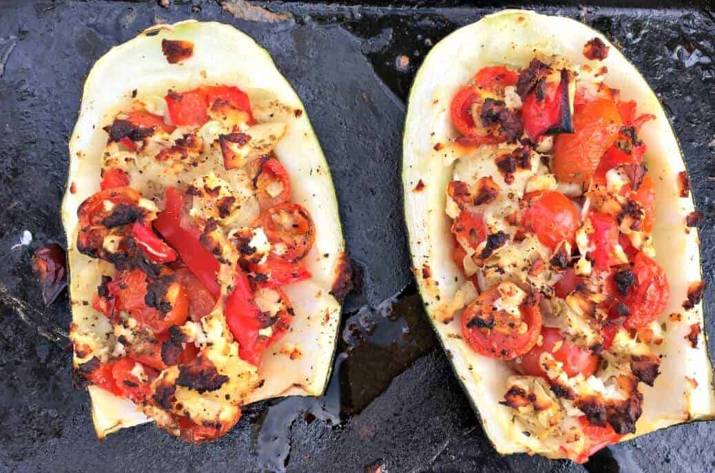 Feta and Tomato Stuffed Courgette (Zucchini)