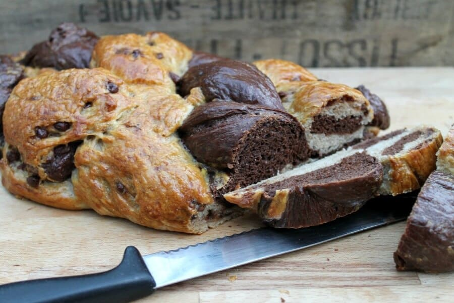Chocolate Six-Strand Braided Challah Loaf on bakingqueen74.co.uk