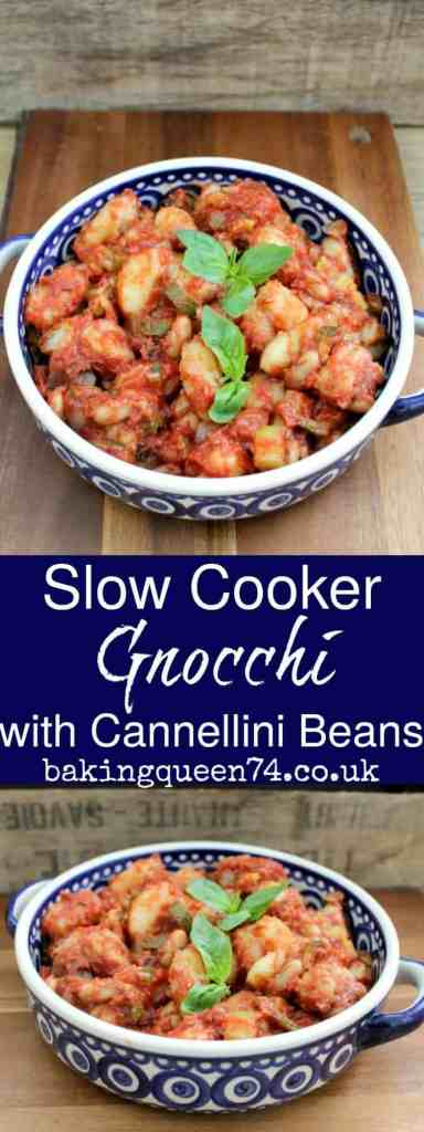 Slow cooker gnocchi with cannellini beans - a hearty warming dish full of veggie goodness, perfect for winter