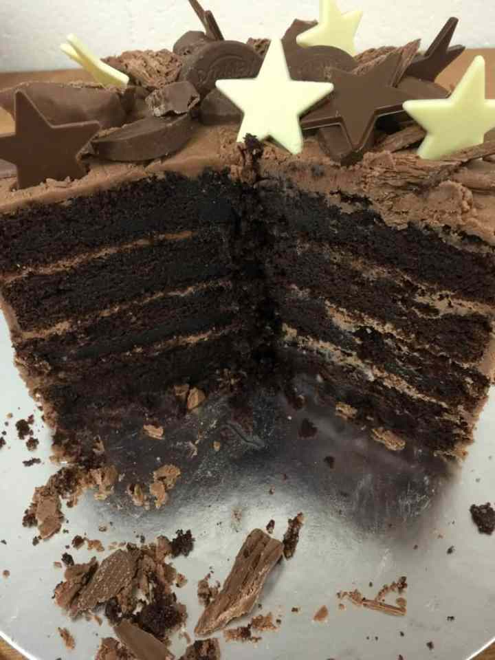 Inside the chocolate layer cake