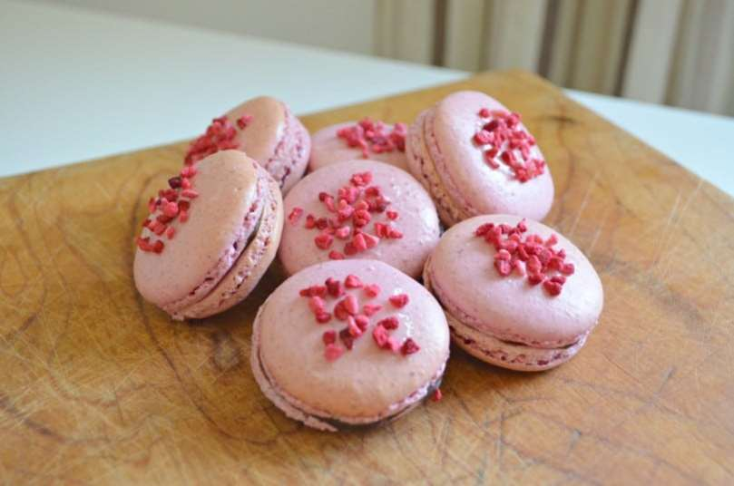 Raspberry Macarons with Chocolate Ganache