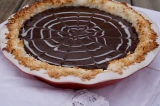 Chocolate pie in coconut crust