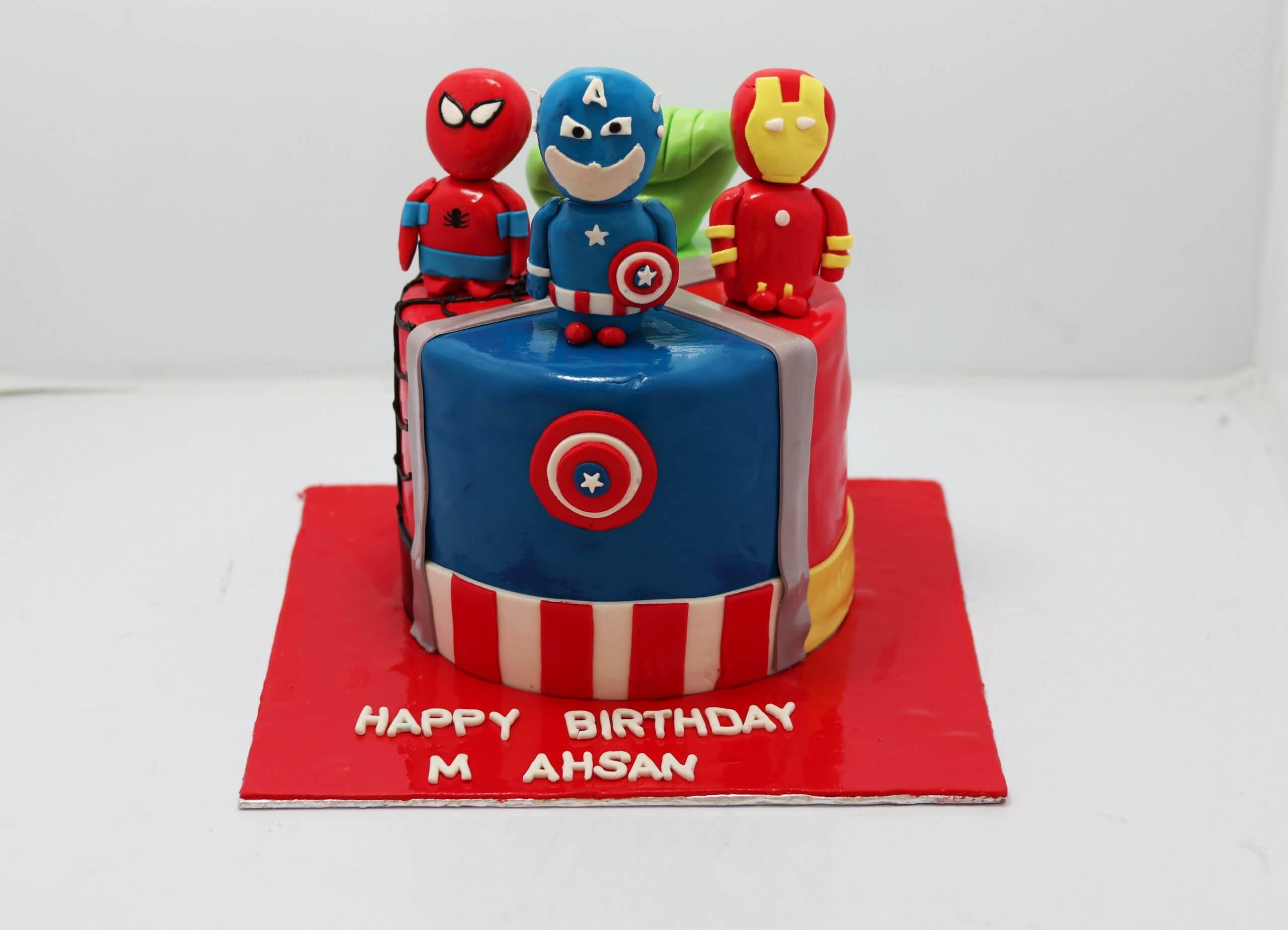 Surprising Avengers Character Cake Spiderman Super Hero Batman Birthday Cakes Funny Birthday Cards Online Fluifree Goldxyz