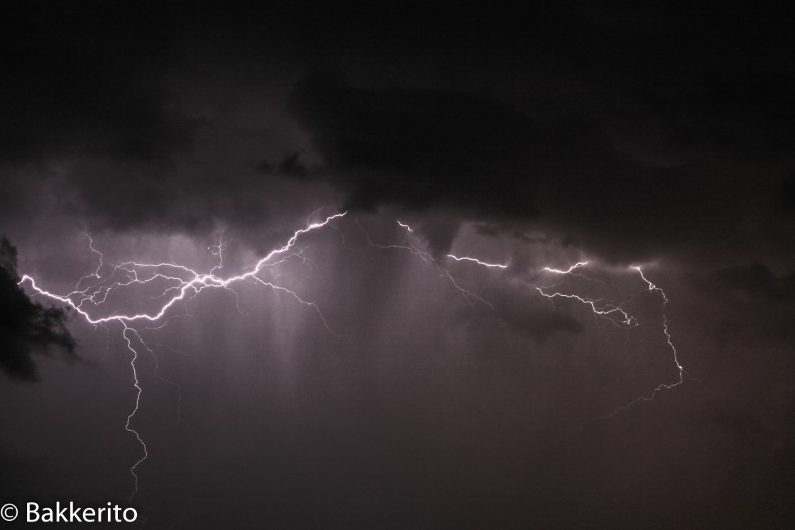 Thunderclouds and lightning in the sky