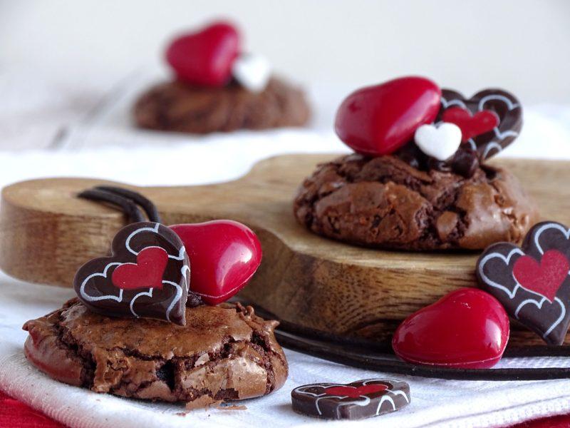 Brownie koekjes met ganache en hartjes