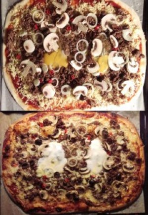 Köttfärspizza med ägg