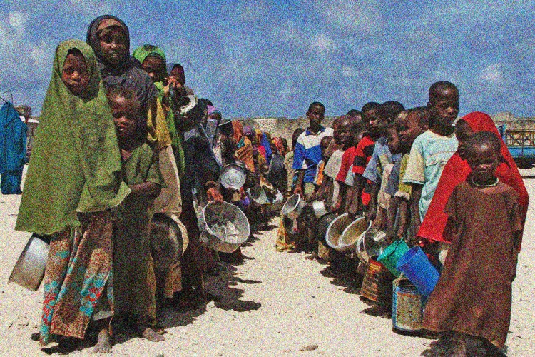 Holding their pots Somali children from southern Somalia, lineup to receive cooked food in Mogadishu, Somalia, Monday, Aug. 15, 2011. The World Food Program said Saturday that it is expanding its food distribution efforts in famine-struck Somalia, where the U.N. estimates that only 20 percent of people needing aid are getting it.(AP Photo/Farah Abdi Warsameh)