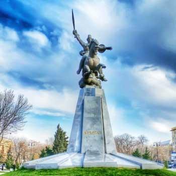 Koroglu monument in Baku. Statue of national hero Koroglu in Baku