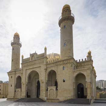 Teze Pir Mosque in Baku, Azerbaijan. Taza-Pir mosque