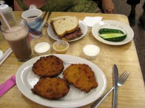 Katz's Deli classics - roast beef sandwich, potato latkes and and a New York egg cream