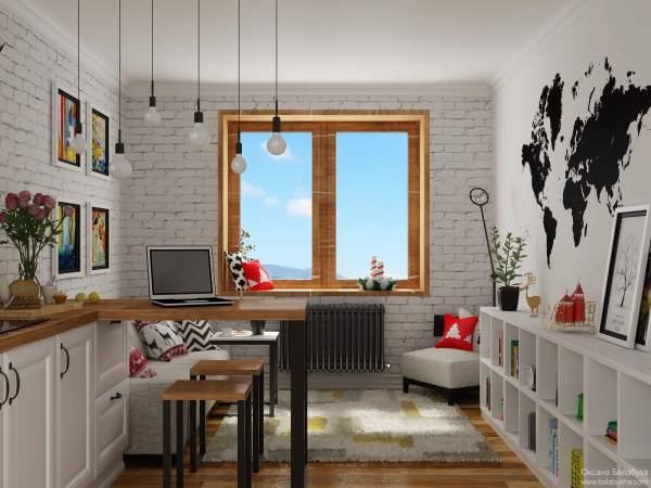 Подвесные светильники в интерьере кухни и гостиной