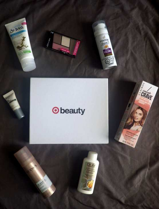 Target Beauty Box with products around it