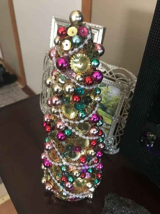 sequin christmas tree craft DIY
