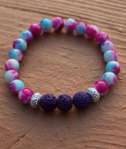 Aromatherapy Diffuser Stretchy Bracelet – tie-dye glass beads with purple lava stones