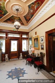 Beleura Mansion interior with ceiling painted by Mural Artist, Wesley Penberthy
