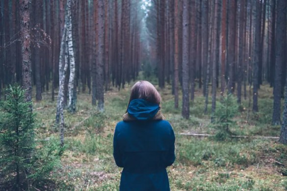 A women looks out into a forest and ponders the question, 'what do I want in life?""