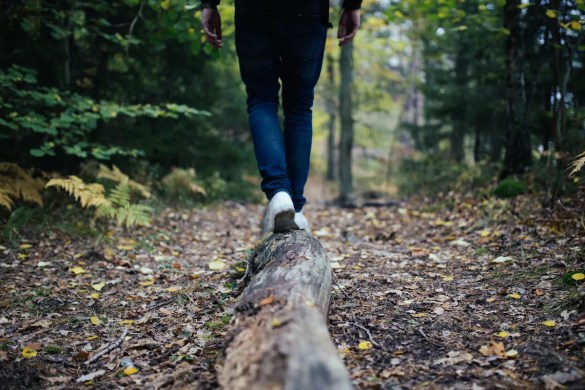 A man is shown walking and balancing himself in the forest on a fallen log. This picture serves as the featured image of Balanced Achievement's article on balance quotes.