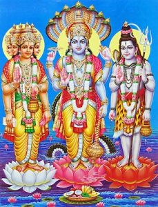A picture that shows the 3 gods of the Hindu Trinity.