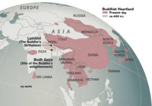 This map shows to population disparity amongst Buddhist throughout Asia.