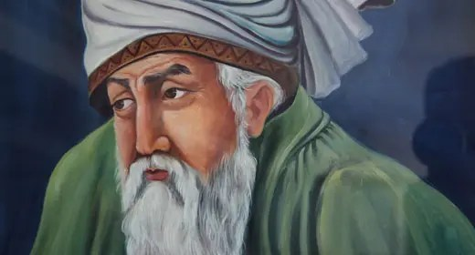 A painting of the mystic Rumi. Use these Rumi quotes for inspiration.