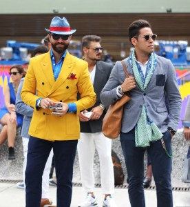 Two men are dressed dapperly in extremely nice clothing and sunglasses. This picture represents the illusion of self because we falsely belief that we are what we represent on the outside. This is the ego's illusion/