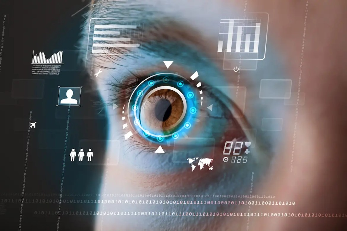 A woman's eye is shown with computer generated data around it. We can shift our perceptions to see everything as an opportunity