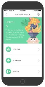 A iPhone is shown with the headspace App open on the Health meditation series.