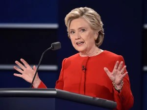 A picture of Hilary Clinton at the first presidential debate. Her psychology of persuasion methods very closely resemble that of a typical politician.