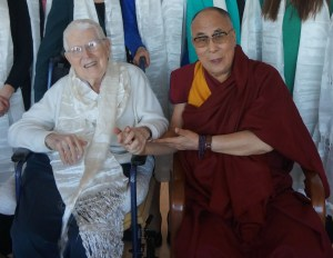 Aaron T. Beck is shown alongside of the Dalai Lama. Beck is the founding father of Cognitive Behavioral Therapy.