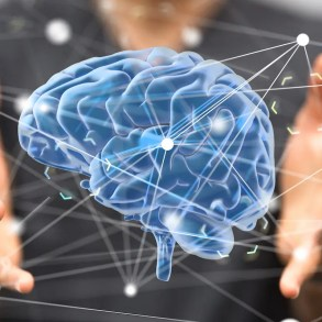A computer generated image shows a man holding a blue brain. This image represents the power of Cognitive Behavioral Therapy.