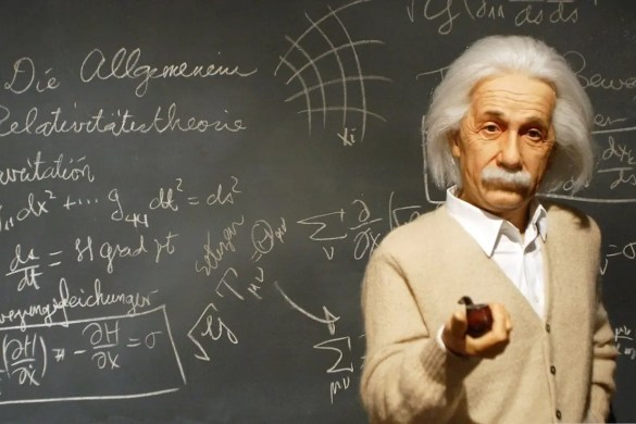 A picture of Albert Einstein is shown with a chalkboard in the background. He is one of the five famous failures we look at in this article.