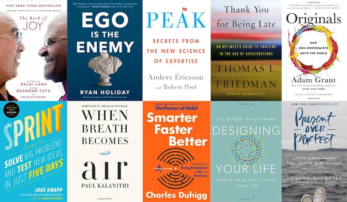 A collage is shown with the covers of the books chosen for Balanced Achievement's top 10 self-help books of 2016.