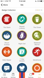 A screenshot of Audible's badge collection is shown.