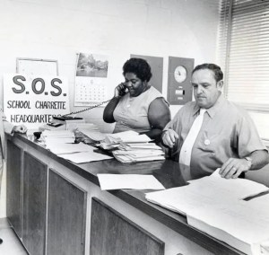 A picture of C.P. Ellis and Ann Atwater is shown as they work side by side with smiles on their faces. Without empathy their life long friendship wouldn't have prospered.