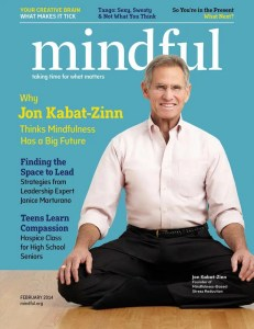 A Mindful Magazine cover is shown with Jon Kabat-Zinn sitting in a meditation posture being highlighted for this version.